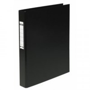 Elba Ring Binder Heavyweight PVC 2 O-Ring Size 25mm A4 Black Ref 400001512 [Pack 10]