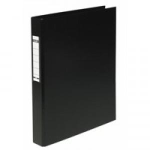 Elba Ring Binder Heavyweight PVC 2 O-Ring Size 25mm A4 Black Ref 400001512 [Pack 10]