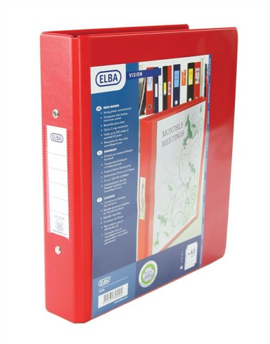 Elba Vision Ring Binder PVC with Clear Front Pocket 2 O-Ring Size 25mm A5 Red Ref 100080884