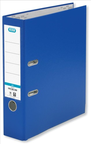 Elba Lever Arch File PVC Slotted 70mm Spine Foolscap Blue Ref 100080911 [Pack 10]
