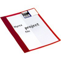 Rexel Nyrex Project Flat File Semi-rigid Plastic Clear Front A4 Red Ref 13045RD [Pack 5]