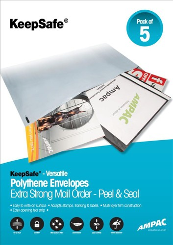 Keepsafe Envelope Extra Strong Polythene C3 335x430mm Peel & Seal Opaque Pack 100