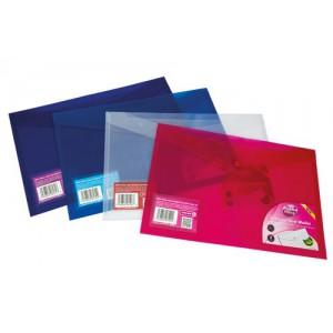 Pukka Stud Wallet File Translucent Polypropylene Foolscap Blue Pack 5