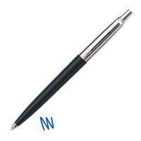 Parker Jotter Ball Pen Durable Black with Steel and Chrome Trim Line 1.0mm Blue Ink Ref S0881180