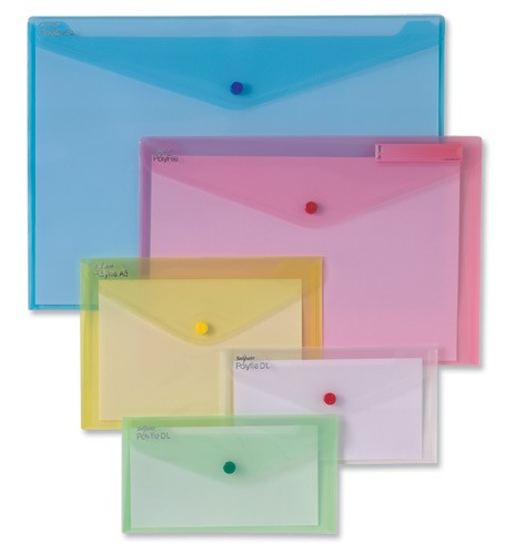 Snopake Polyfile Classic Wallet File Polypropylene A5 Assorted Ref 11395 [Pack 5]