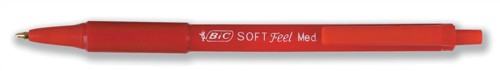 Bic SoftFeel Clic Pen Retractable Rubberised Barrel 1.0mm Tip 0.3mm Line Red Ref 837399 [Pack 12]