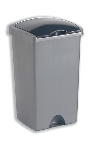 Bin with Lift Up Lid Plastic 48 Litres Metallic Silver