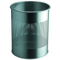 Durable Bin Round Metal 165mm Perforated 15 Litres Metallic Silver Ref 3310/23