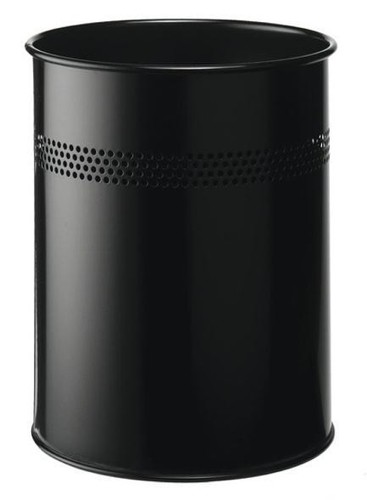 Durable Bin Round Metal 30mm Perforated 15 Litres Black Ref 3300/01