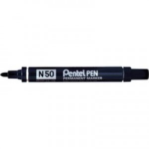 Pentel N50 Permanent Marker Bullet Tip 1.5-2mm Line Black Ref N50-A [Pack 12]