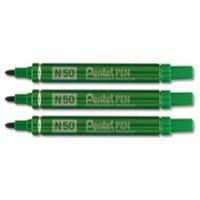 Pentel N50 Permanent Marker Bullet Tip 1.5-2mm Line Green Ref N50-D [Pack 12]