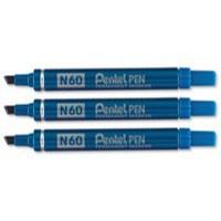 Pentel N60 Permanent Marker Chisel Tip Max.6mm Line Blue Ref N60-C [Pack 12]