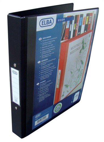 Elba Vision Ring Binder PVC with Clear Front Pocket 2 O-Ring Size 25mm A4 Black Ref 100080891 [Pack 10]