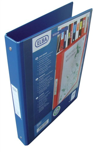 Elba Vision Ring Binder PVC with Clear Front Pocket 2 O-Ring Size 25mm A4 Blue Pk 10