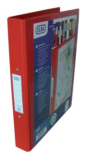 Elba Vision Ring Binder PVC with Clear Front Pocket 2 O-Ring Size 25mm A4 Red Ref 100080890 [Pack 10]