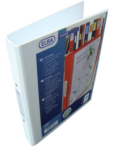 Elba Vision Ring Binder PVC with Clear Front Pocket 2 O-Ring Size 25mm A4 White Ref 100080889 [Pack 10]