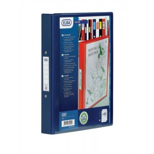 Elba Vision Ring Binder PVC with Clear Front Pocket 4 O-Ring Size 25mm A4 Blue Ref 100080876 [Pack 10]