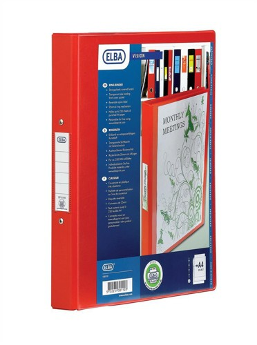 Elba Vision Ring Binder PVC with Clear Front Pocket 4 O-Ring Size 25mm A4 Red Ref 100080880 [Pack 10]