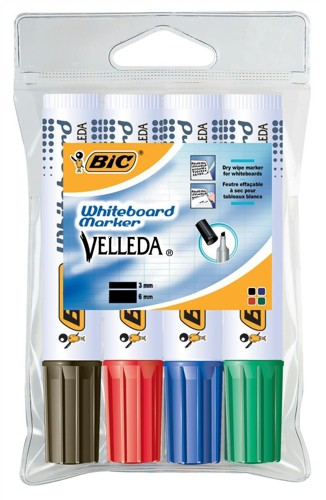 Bic 1781 Whiteboard Chisel Marker Assorted Wallet 4 Code 875787
