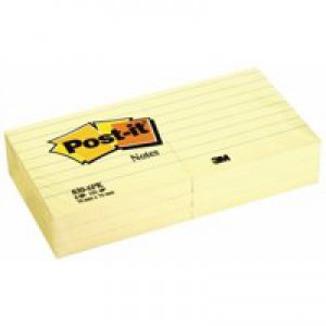 Post-it Canary Yellow Notes Pad of 100 Sheets 76x76mm Ref 654YE [Pack 12]