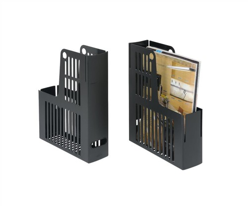 Magazine Rack File Durable Polystyrene A4 Black [Pack 10]