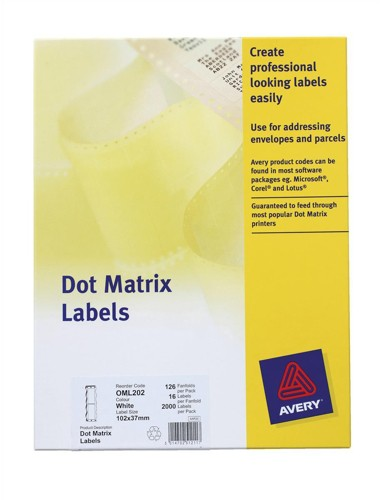 Avery Dot Matrix 6 Labels Per 12in Fanfold White 750 Labels Size 102x49mm 1 Across Code OML103