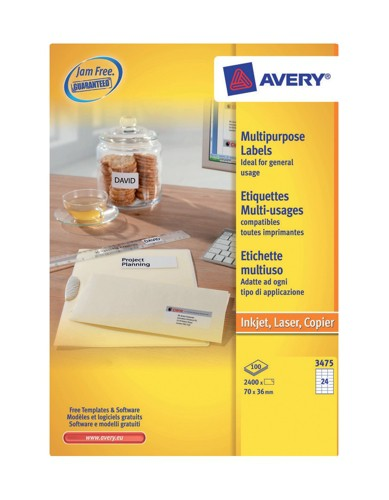 Avery Copier Labels A4 White 24 Per Sheet 70x36mm Pack 100 Code DPS24-100