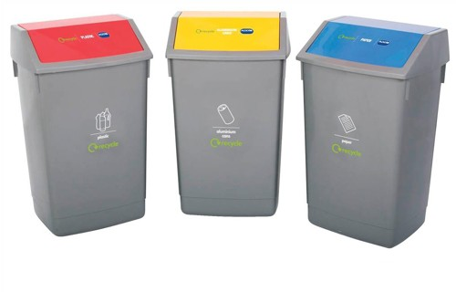 Recycle Bin Kit 3x 54L Bins with Colour Coded Lids Flip Top