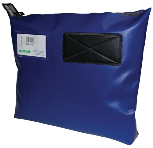 Versapak Mailing Pouch Gusseted Bulk Volume Sealable with Window PVC 380x340x75mm Blue Ref CG2 BL