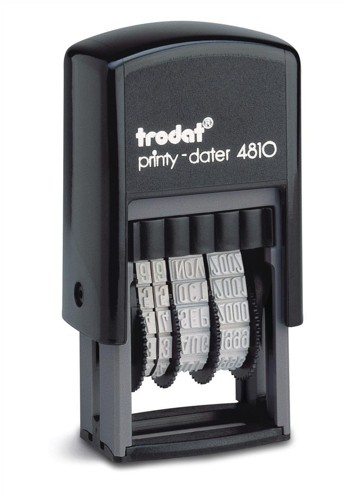 Trodat Printy 4810 Budget Mini Dater Stamp Self-inking 20x3.8mm Black Ref 70169