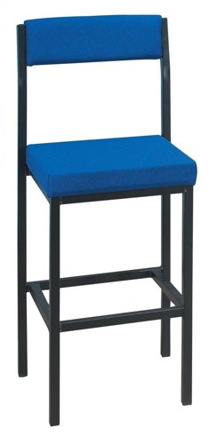 Trexus High Stool with Upholstered Backrest and Seat W410xD410xH700mm Blue