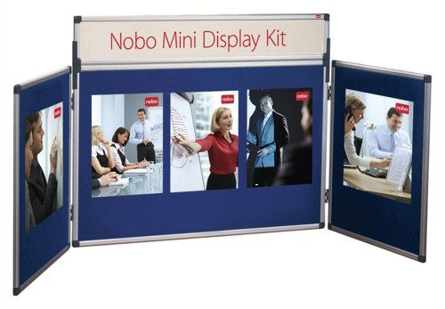 Nobo Mini Display Kit Central Panel W900xH600mm and two W450xH600mm Panels Blue Ref 35232027