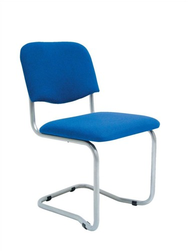 Trexus Cantilever Chair Upholstered Stackable Silver Frame Seat W480xD420xH470mm Blue