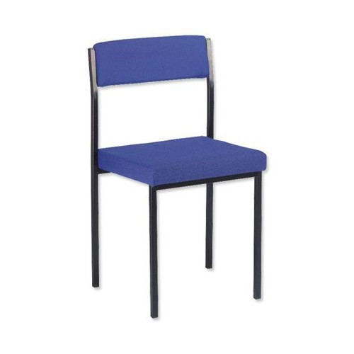 Trexus Side Chair Stackable Steel Frame Upholstered Seat W410xD410xH460mm Blue