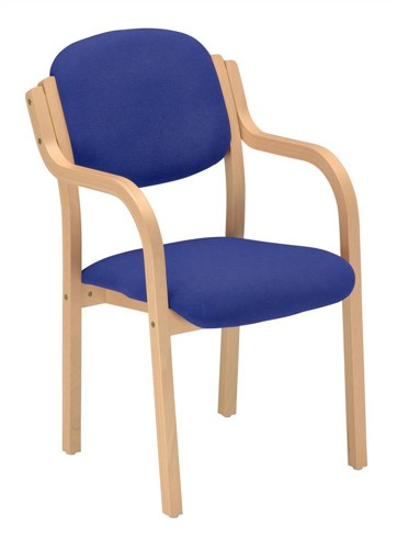 CALEY Blue Tyson Beech Woodframe Conference/Visitor Armchair. Stackable