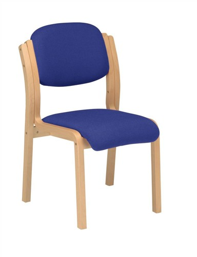 CALEY Blue Sphinx Beech Woodframe Conference/Visitor Side Chair. Stackable
