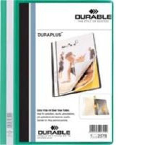 Durable Duraplus Quotation Filing Folder PVC with Clear Title Pocket A4 Green Ref 2579/05 [Pack 25]