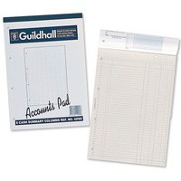 Guildhall Account Pad 26 Cash Column 298x210mm 60 Sheet Punched 4 Holes