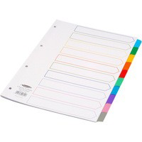 Concord Index Multicolour-tabbed Mylar-Reinforced 4 Holes 10-Part A4 White Ref 00801/CS76