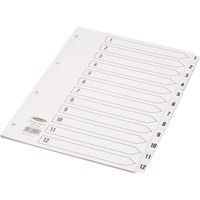 Concord Classic Index Mylar-reinforced Punched 4 Holes 1-12 A4 White Ref 01201/CS12