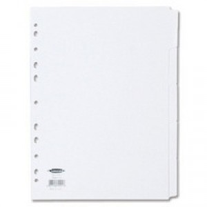 Concord Subject Dividers 230 Micron Punched 11 Holes 5-Part A4 White Ref 79901/99