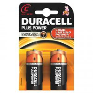 Duracell Plus Power Battery Alkaline 1.5V C Ref 81275429 [Pack 2]