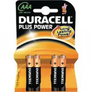 Duracell Plus Power Battery Alkaline AAA Size 1.5V Ref 81275258 [Pack 4]