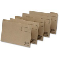 Elba Tabbed Folders Recycled Lightweight 180gsm Set of 5 Foolscap Buff Ref 100090118 [Pack 20]