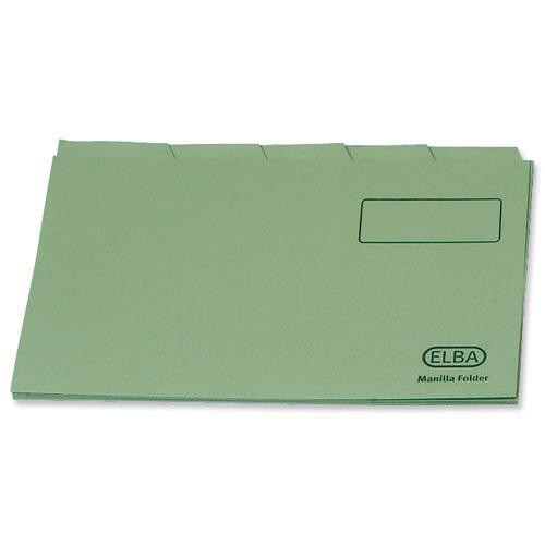 Elba Tabbed Folders Recycled Lightweight 180gsm Set of 5 Foolscap Green Ref 100090120 [Pack 20]