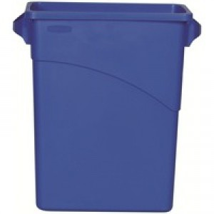 Rubbermaid Slim Jim Recycling Bin with Handles 279x587x630mm 60 Litres Blue Code 3541-73-BLU