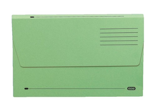 Elba Document Wallet Half Flap 285gsm Capacity 32mm Foolscap Green Ref 100090127 [Pack 50]