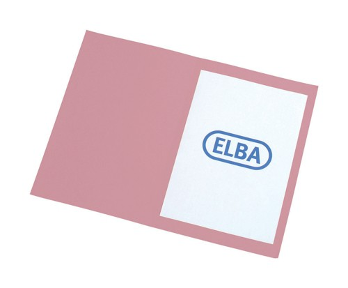 Elba Square Cut Folder Recycled Lightweight 180gsm A4 Pink Ref 100090206 [Pack 100]