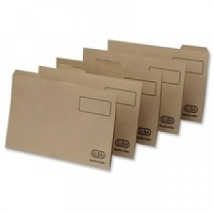Elba Tabbed Folders Recycled Heavyweight 285gsm Set of 5 Foolscap Buff Ref 100090233 [Pack 20]