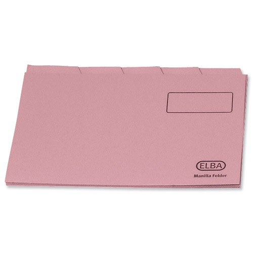 Elba Tabbed Folder Recycled Heavyweight 290gsm Foolscap Pink